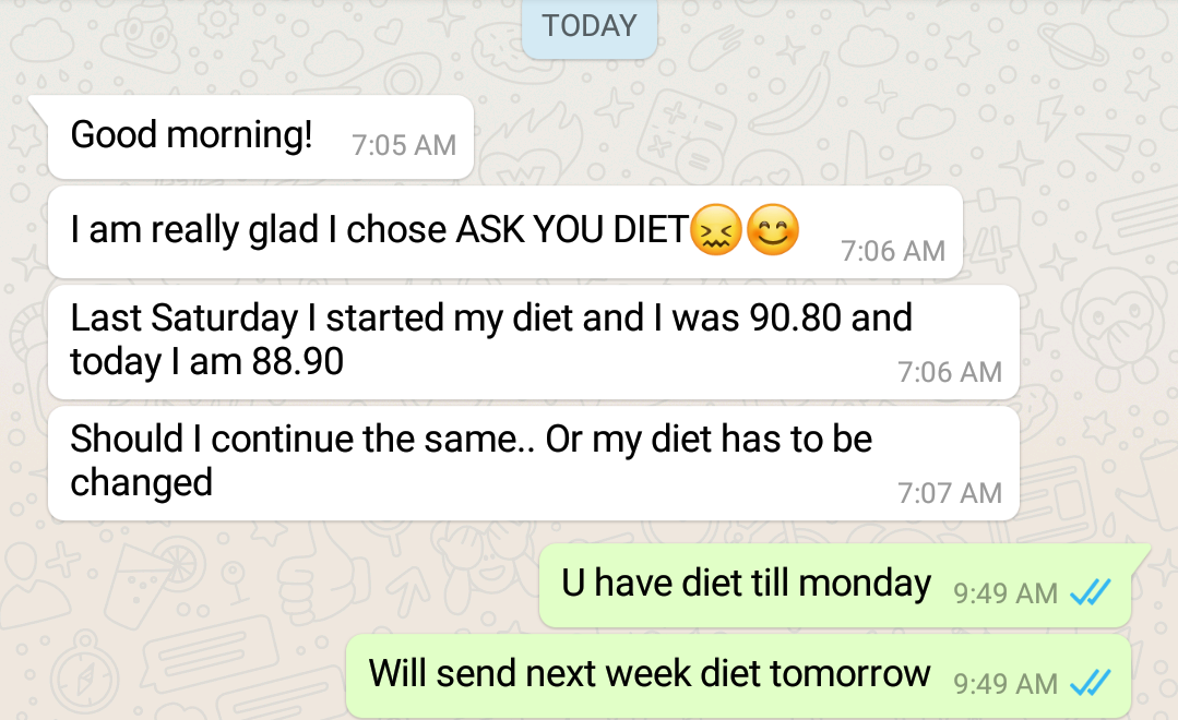 12 kgs to 8 kg weight loss