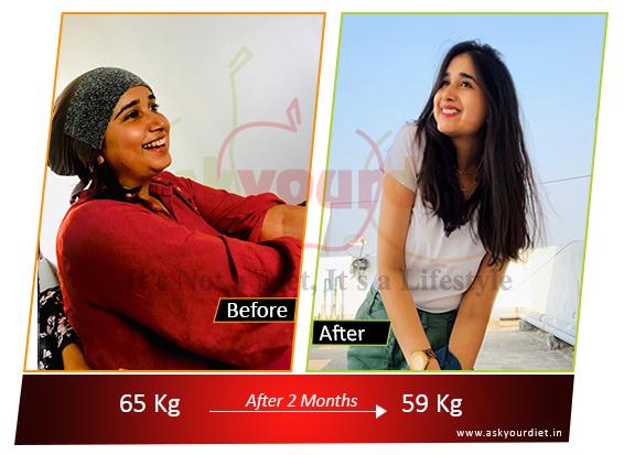 65 kgs to 58 kgs in 2 months